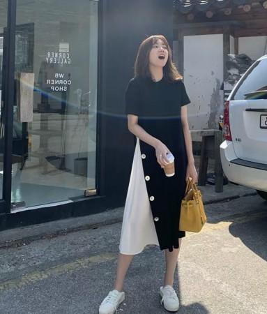 韓國東大門~設計首爾熱賣款✿下擺百褶鈕扣造型藏肉減齡顯瘦連衣裙~☁ 約會~旅遊~上班~必備 ◙ ◚ ◛S-4XL可選 2色