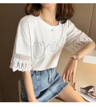 韓國東大門~夏季設計首爾熱賣款✿韓國寬鬆拼接蕾絲釘珠字母造型上衣✿超氣質~☁ 約會~旅遊~餐會~必備 ◙ ◚ ◛ 3色可選