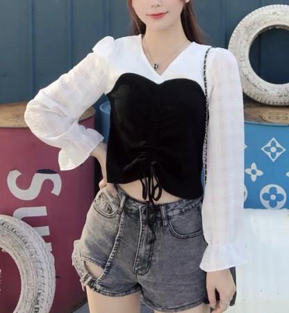 韓國東大門~夏季設計首爾熱賣款✿法式復古V領泡泡袖拼接長袖質感上衣✿超氣質~☁ 約會~旅遊~上班~必備 ◙ ◚ ◛  XS-L