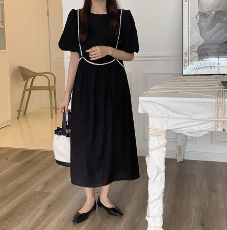 韓國東大門~設計首爾熱賣款✿宮廷風珍珠裝飾寬鬆皺摺連身洋裝✿~☁ 約會~旅遊~上班~必備 ◙ ◚ ◛2色可選