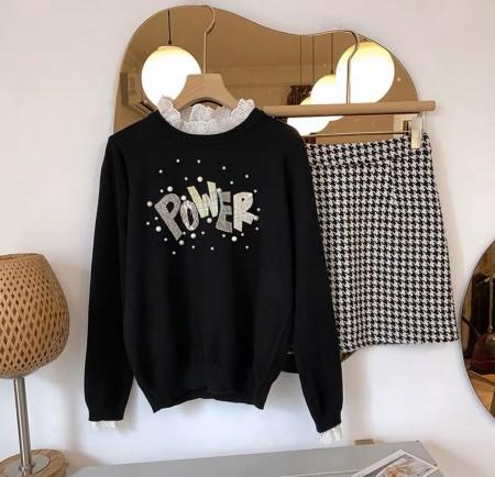 韓國東大門♛~韓國首爾熱賣♛夢幻減齡蕾絲拼接珍珠百搭針織上衣♛✿超減齡~仙氣十足✿~超實搭~~3色可選