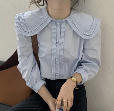 韓國東大門~設計首爾熱賣款✿娃娃領寬鬆設計燈籠袖襯衫上衣✿☁ 約會~旅遊~上班~必備 ◙ ◚ ◛2色可選