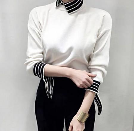 韓國東大門♛~韓國首爾熱賣♛復古翻領條紋拼接質感針織上衣♛✿超減齡~仙氣十足✿~超實搭~~2色可選