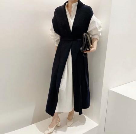 韓國東大門~秋冬設計首爾熱賣款✿個性簡約寬鬆泡泡袖襯衫連身裙+V領長版綁帶收腰針織套裝組✿超氣質~☁ 約會~旅遊~上班~必備 ◙ ◚ ◛