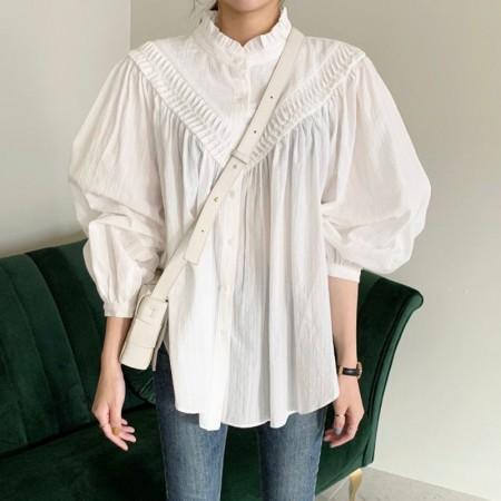 韓國東大門♛~韓國首爾熱賣♛復古英式風立領壓褶單排扣寬鬆上衣♛✿超減齡~仙氣十足✿~超實搭~~2色可選