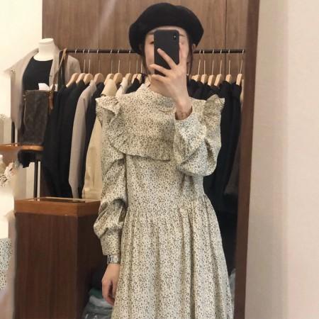 韓國東大門♛~韓國首爾熱賣♛復古甜美立領滿版碎花荷葉邊長版洋裝♛✿超減齡~✿~超百搭~ 2色可選