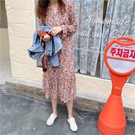 韓國東大門~初春設計首爾熱賣款♥超唯美粉嫩色系雪紡收腰修身顯瘦造型長袖連身裙✿超氣質仙氣十足~☁ 上班~旅遊~必備 ◙ ◚ ◛