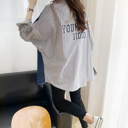 韓國東大門~夏季初秋設計首爾熱賣款✿設計款牛仔布料拼接條紋字母襯衫外套✿超氣質~☁ 約會~旅遊~上班~必備 ◙ ◚ ◛
