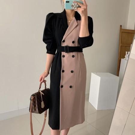 韓國東大門♛~韓國首爾熱賣♛西裝領雙排扣拚色直筒中長版連身腰帶洋裝♛✿超減齡~仙氣十足✿~超實搭~~2色可選 S-L