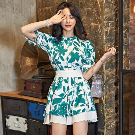 韓國東大門~春夏設計首爾熱賣款♥法式燈籠泡泡袖收腰顯瘦氣質短版連身裙洋裝✿超氣質~☁ 約會~旅遊~餐會~必備 ◙ ◚ ◛  S-XL