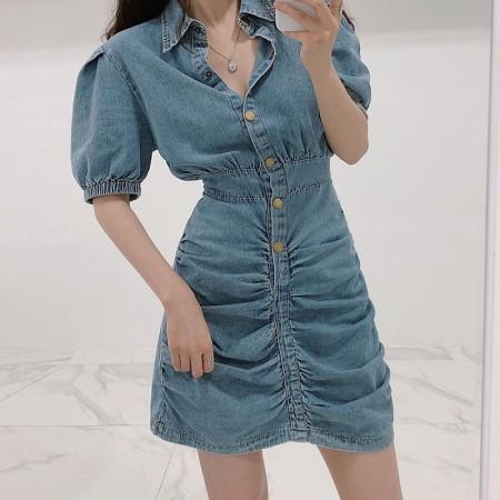 韓國東大門♛~韓國首爾熱賣♛復古風水洗牛仔布料收腰短版洋裝♛✿超甜美~✿~超實搭~~超推!! S-M