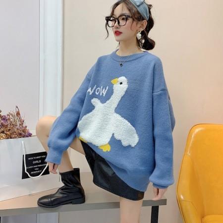 韓國東大門♛~韓國首爾熱賣♛童趣白小鵝慵懶寬鬆保暖over size款針織毛衣♛✿超減齡~顯瘦款✿~超實搭~~4色可選 M-3XL