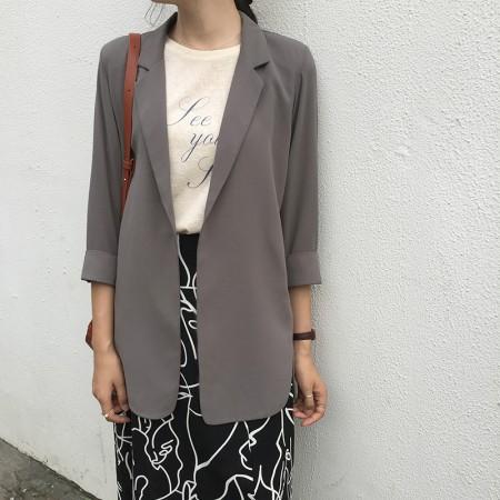 韓國東大門~夏季設計首爾熱賣款✿寬鬆七分袖中長版雪紡紗氣質西裝防曬薄外套✿超氣質~☁ 約會~旅遊~上班~必備 ◙ ◚ ◛ 5色可選  S-XL
