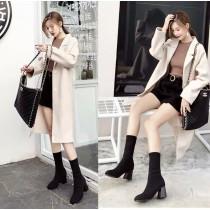 韓國東大門韓系纖瘦小腿百搭針織粗跟襪靴