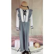 韓系時尚英倫風荷葉邊吊帶連身西裝寬褲 不含上衣內搭賣場另售