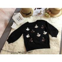 韓國東大門天鹅亮片細緻釘珠圓領針織七分燈籠袖上衣 現貨+1及預購