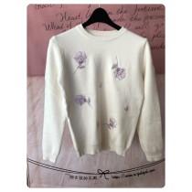 韓國東大門甜美氣質花朵圓領粉嫩色系針織毛衣 2色可選    現貨各1+預購