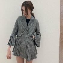 韓國東大門韓系女星氣質擺摺袖口下擺英倫格紋西裝外套