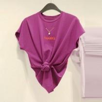 韓國東大門韓版夢幻粉紫圓領英文字母搭配金色造型項鍊T恤上衣