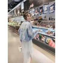 韓國東大門超韓♩♫ ♬氣質♩♪♫淺色系短版仙氣蕾絲珍珠扣寬鬆牛仔外套 S~L