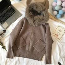 韓系LADY法式浪漫質感專櫃區韓系厚針織貂毛扁蝠袖針織毛線外套 2色