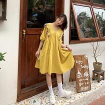 韓國東大門首爾熱賣款~♛INS~韓系雙肩彩色可愛毛球球寬鬆中長版娃娃連衣裙~✿不悶熱☁~超甜美 2色