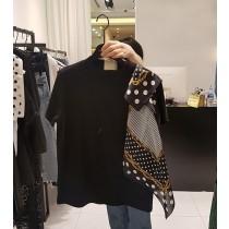 韓國東大門批市銷售NO.1 韓系INS超特別剪裁絲巾拼接造型T恤