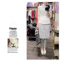 韓國東大門▶▷◀◁假兩件式長版蕾絲襯裙▶▷◀◁內搭褲~彈性超大~超質感~M~2XL~ 2色