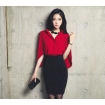 韓國東大門韓版超仙顯瘦披肩雪紡上衣及氣質黑包臀修身套裝2件組 S~2XL