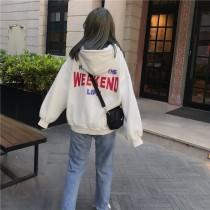 韓國東大門韓系BF寬鬆美式英文字母刺繡後背英文字棉質加厚休閒帽T 3色