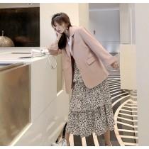韓國東大門粉嫩反折長袖修身西裝外套✚個性豹紋鬆緊蛋糕裙   ♥2件套組 ♥超搭~絕配組!! ♥