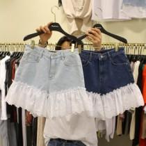 韓國東大門韓系蕾絲氣質鈎花拼接牛仔短褲 2色