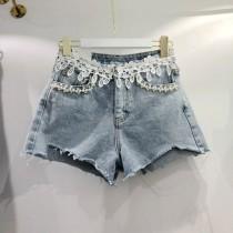 韓國東大門韓系氣質蕾絲手工釘珠牛仔短褲 2色