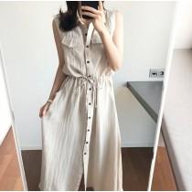 韓國東大門韓國首爾熱賣款~♛INS~韓系休閒雙口袋收腰綁繩寬鬆連衣裙~✿不悶熱☁~超甜美~ S-XL