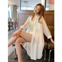 韓國東大門氣質甜美薄款透視直線條紋修身防曬長袖遮陽罩衫透氣襯衫外套~~狂銷千件~**再不買就曬黑了**2色 ✔✔大推!!