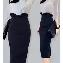 韓國東大門金秘書為何那樣OL系列一步裙包臀西裝材質質感高腰中長版半身裙 2色