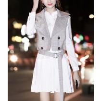 韓國東大門韓系甜美氣質款~甜美氣質兩件翻領西裝背心+連身襯衫小百摺A字連衣裙 S-2XL