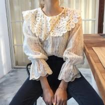韓國東大門韓國首爾熱賣款減齡白色翻領摟空微透膚蕾絲喇叭彈性袖口甜美上衣