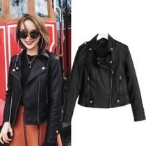 韓國東大門韓版個性翻領帥性柔軟質感黑皮衣外套