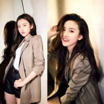 韓國東大門宋組兒明星同款韓版英倫氣質學院經典基本款格紋復古西裝長版外套