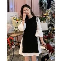 韓國東大門韓系小香風款~甜美氣質兩件式小花滾邊喇叭袖背心及連衣裙 S~2XL