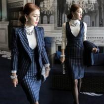 韓國東大門韓版質感顯瘦OL西裝外套及包臀連身裙套裝2件組 2色