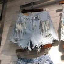 韓國東大門韓系氣質淺色抓破流蘇珠珠牛仔短褲