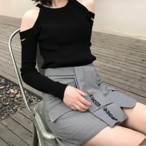 韓國東大門韓系氣質簡約條§西裝布料§設計師款A字短裙(顯瘦心機款) 2色 S~L