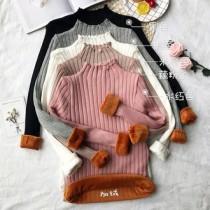 韓國東大門韓版針織立領內刷毛加絨雙層超暖坑條內搭針織衫 5色