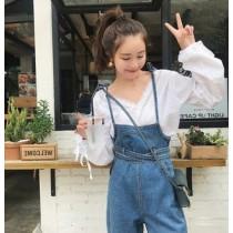 韓國東大門甜美蝴蝶結綁帶細版牛仔吊帶褲 S~XL