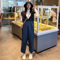 韓國東大門韓系甜美V領羊糕毛拼接高腰顯腿長設計寬款連身吊帶牛仔褲 2色