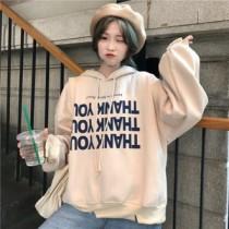 韓國東大門韓系BF印花寬鬆美式英文字母棉質加厚休閒帽T 3色