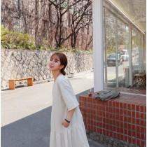 韓國東大門韓國首爾熱賣款~♛INS~韓系無印風森林系蛋糕寬鬆遮肉口袋連衣裙~✿不悶熱☁~超甜美~ S-XL