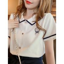 韓國東大門韓國首爾熱賣款~♛INS~韓系✿復古韓系藍白學院風立領短袖上衣❀稀有獨家日韓風系列♛